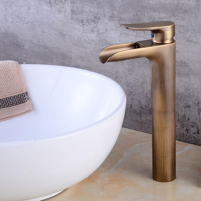 <b>Basin Faucet Waterfall Faucet</b> Antique Bronze <b>bathroom faucets</b> ...