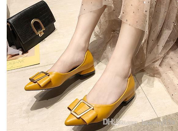 2019 Women's shoes in Spring and Autumn with New style Low heel pointed end bowknot @265