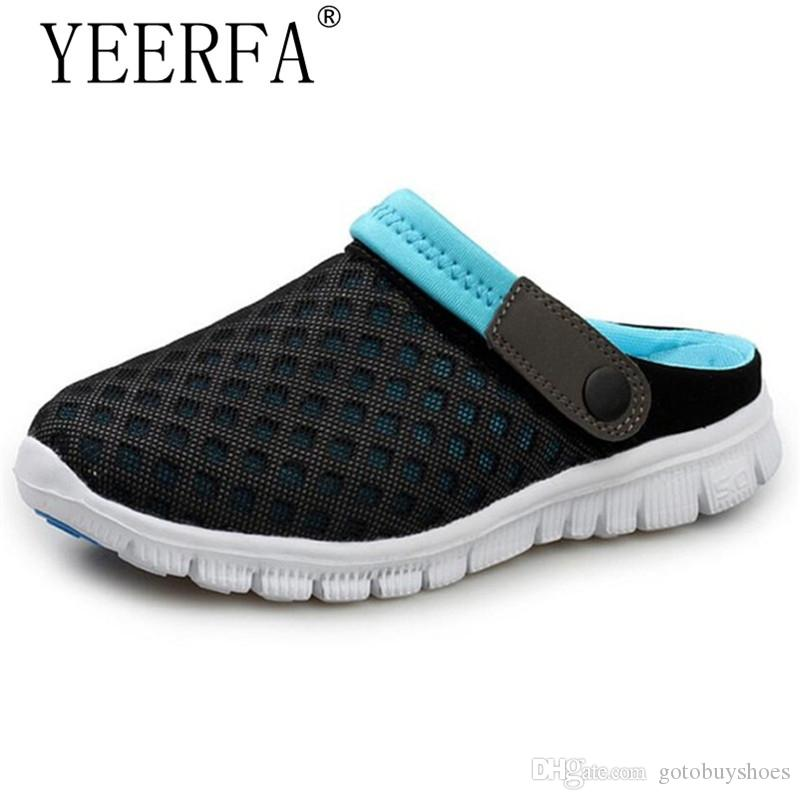 YEERFA Beach Men Shoes Casual Mesh Breathable Men Slipper 2017 Summer Flat Sandals Water Flip Flops Slippers Plus Size 39-46 #202104