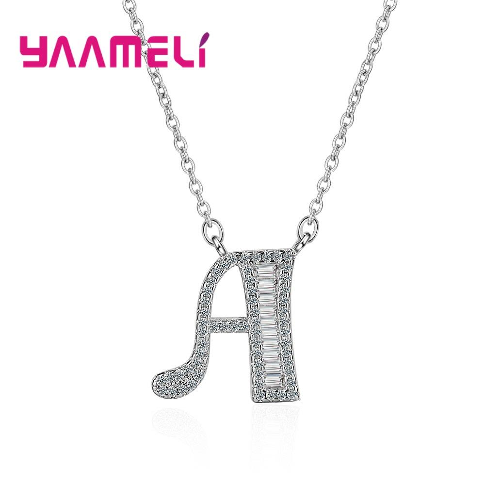 Nice Gift for Women Men Couples 925 Sterling Silver Full Rhinestone CZ Crystal Paved Setting Alphabet Enternity Love Jewelry A-Z
