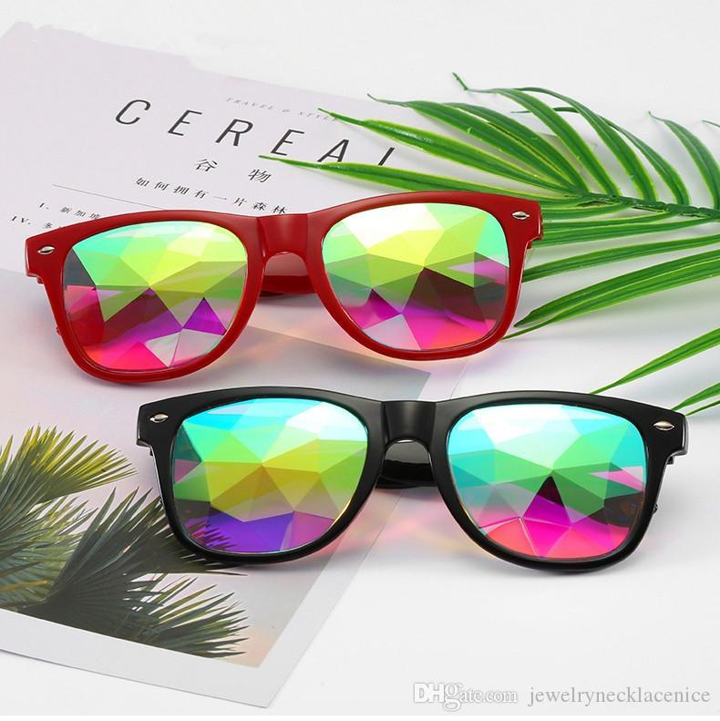 women Geometric Kaleidoscope Glasses Rainbow Rave Lens Bling Bling Prism Crystal Eyewear Party Diffraction Sunglasses