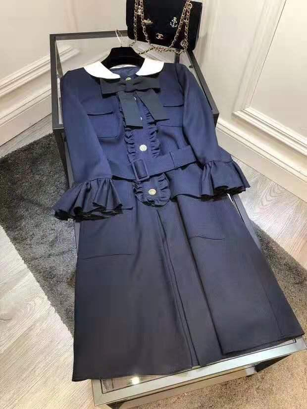 Designer 2019 Blu navy / rosa Colletto alla Peter Pan Abito da donna Bottoni in passerella Milano Increspature Abiti da donna 1881