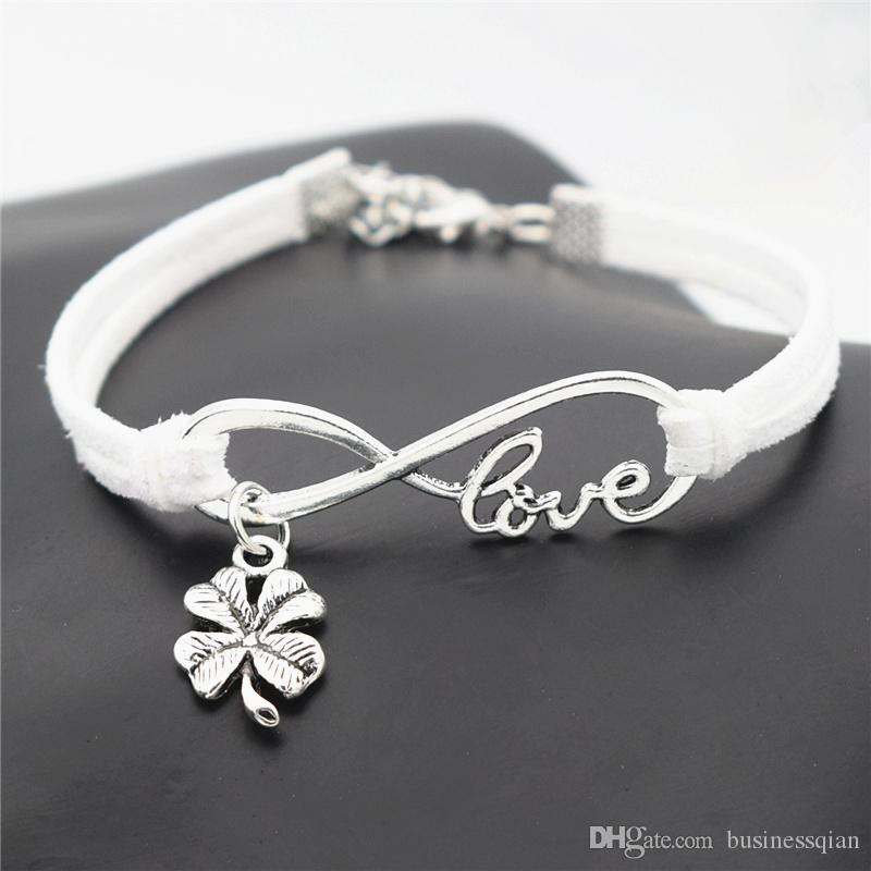 Trendy Silver Color New Infinity Love Four Leaf Clover Pendant Shape White Leather Adjustable Charm Bracelet & Bangles For Women Men Jewelry