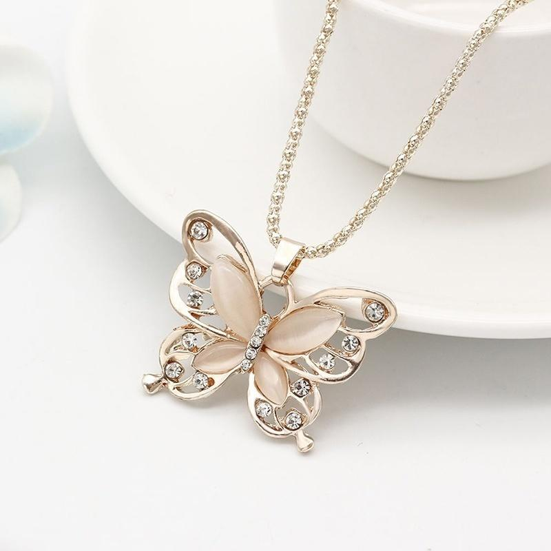 dc48aebfe Wholesale Women Lady Rose Gold Opal Butterfly Pendant Necklace ...