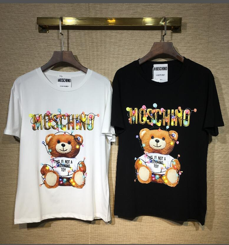 b8b6f83b39 moschino 2018 fashion men and women brand polo t-shirt bear print collar  classic t-shirt short-sleeved t-shirt lovers women s ladies men s shirt