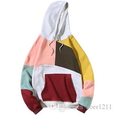 Winter stitching sweater men's hooded plus velvet padded clothes student Korean version of the trend personality large size coat
