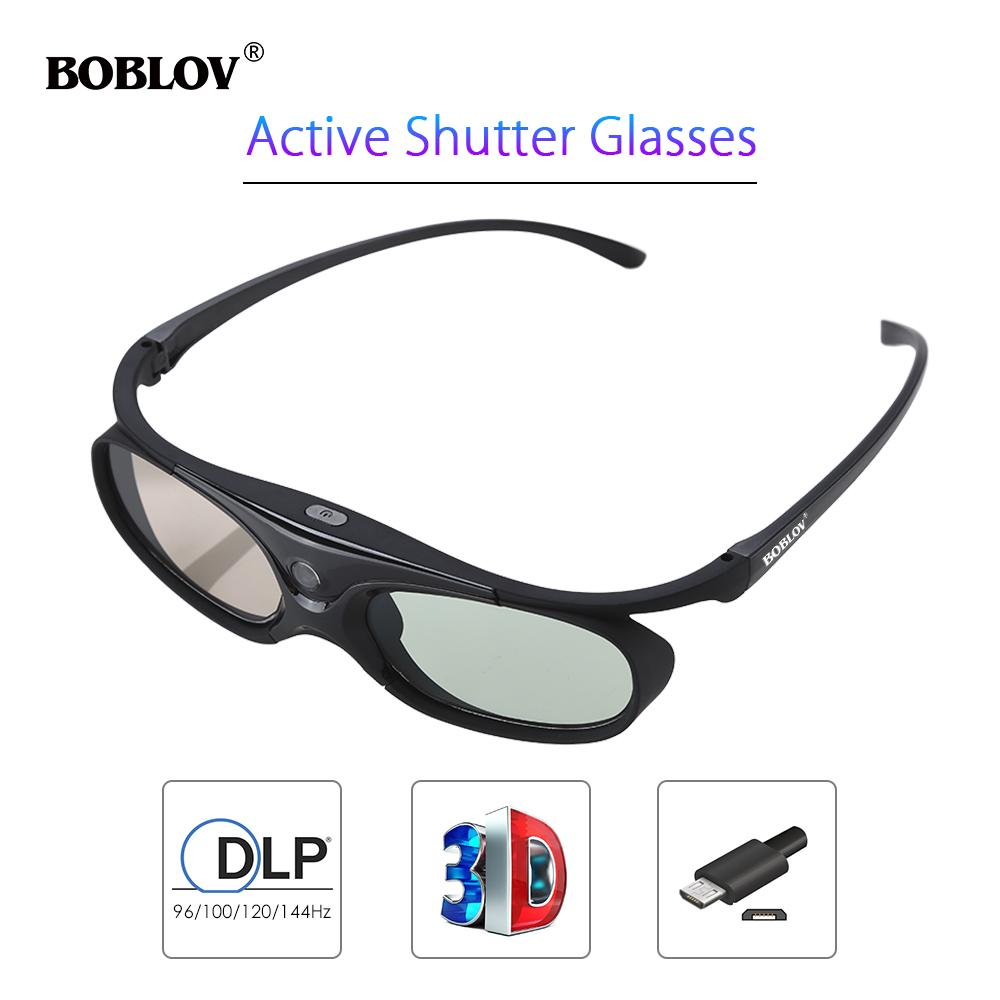 BOBLOV 3D Active Shutter Glass For All DLP Projector 96Hz/144Hz USB Rechargeable Home Theater For BenQ Dell Acer Smart Glasses