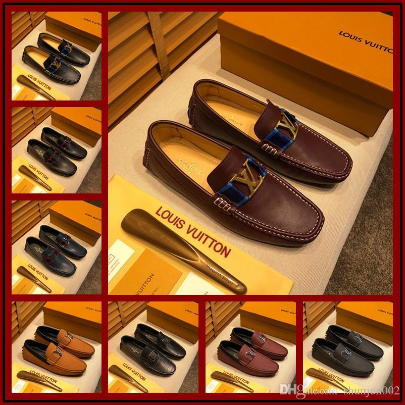 19ss Mens Office Dress leather shoes luxury handmade loafers slip on italian brand designer male dress shoes big Size 38-46