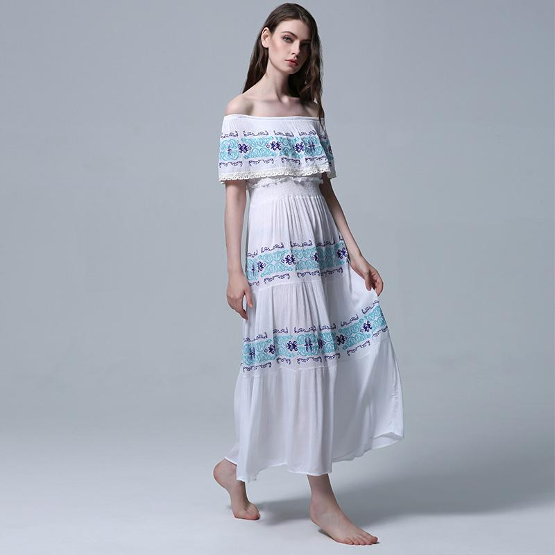 f96b8a6c6 Best Bohemian# Off The Shoulder Dress 2019 New Summer Sexy Embroidered  Bodice Boho Maxi Beach Resort Casual White Elegant Women Dresses Cocktail  Dress Party ...