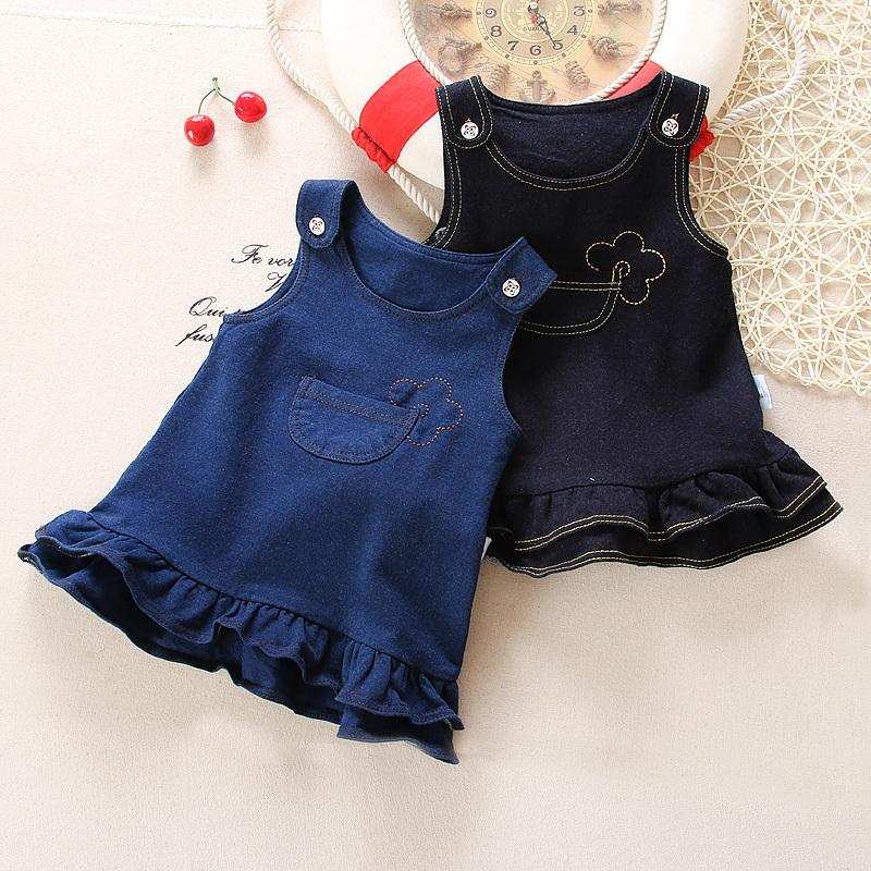75ce8d68c2e39 good quality toddler baby girls strap dress infant girl denim dress 2019  spring autumn fashion newborn Knitted denim dress 0-2Y
