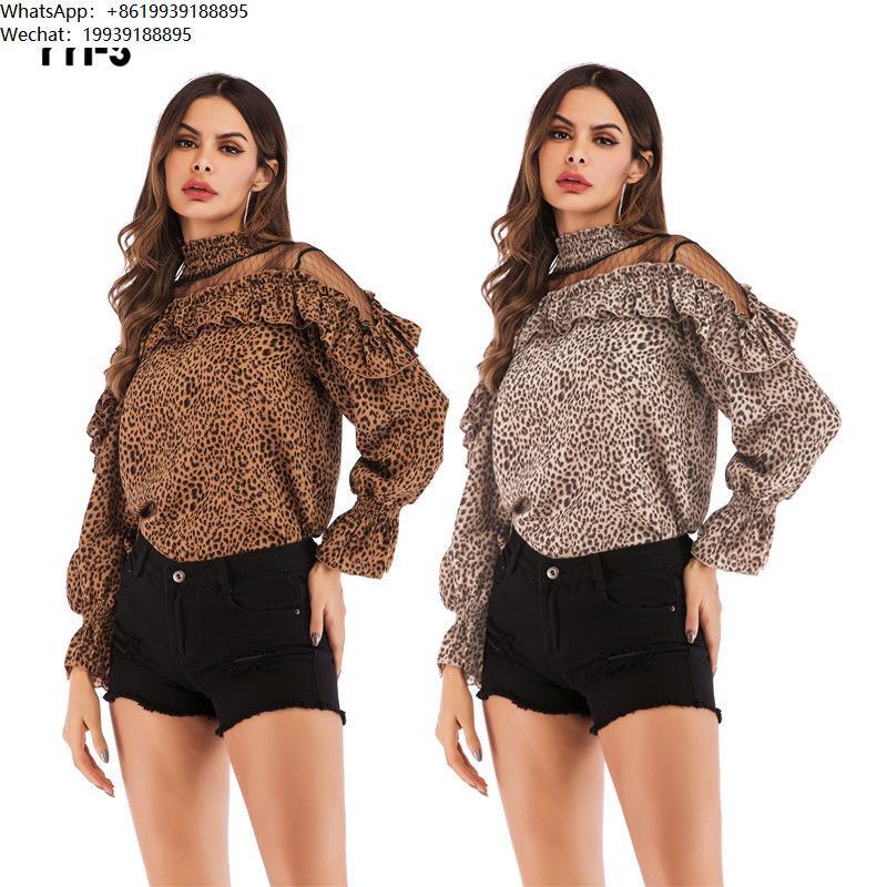 40a5e8049649 2019 Summer Dress Leopard Print Net Yarn Splicing Chiffon Shirt Horn ...