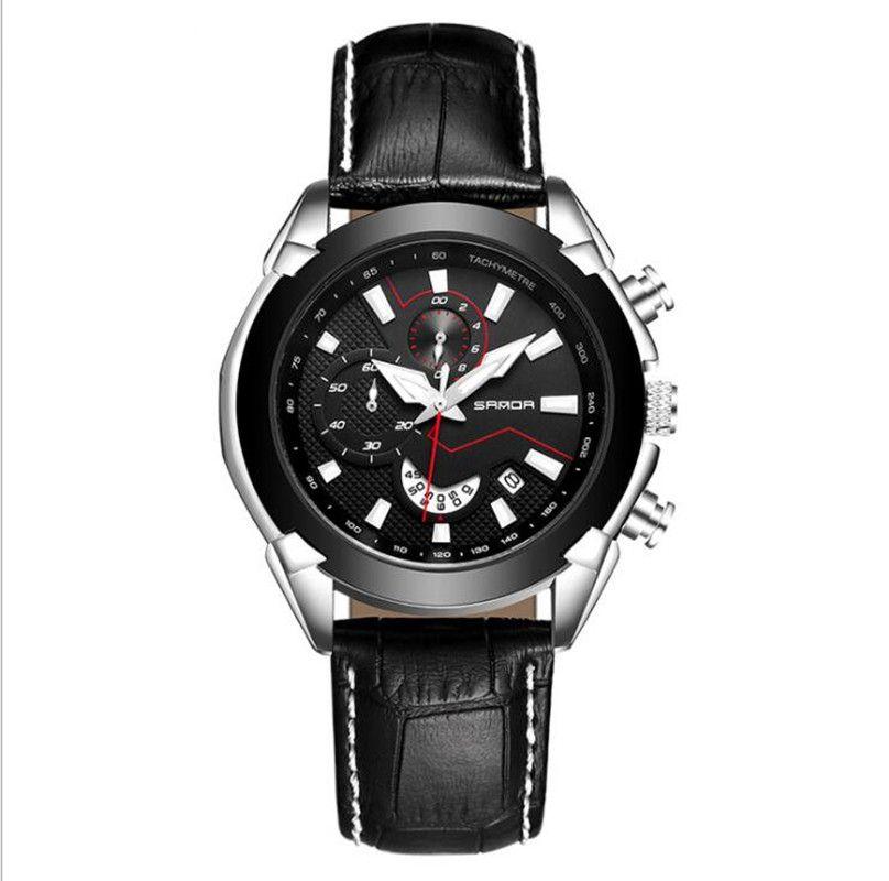 0f327cfd1755 Compre Correa De Cuero Para Hombre Calendario Reloj De Moda Resistente Al Agua  Reloj De Cuarzo De Seis Pines Reloj Con Movimiento De Esfera Grande  Informal ...