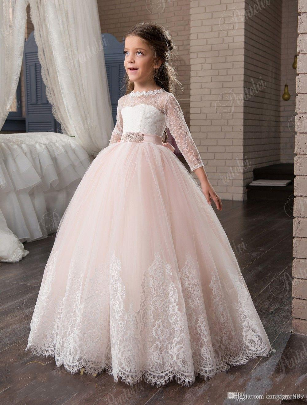 3a101d5f9509 Cute Pink Flower Girl Dresses 3/4 Long Sleeves Lace Appliques Princess Ball  Gown Pageant Girl Dresses Birthday Party Gown Flower Dress Girl Flower Girl  ...