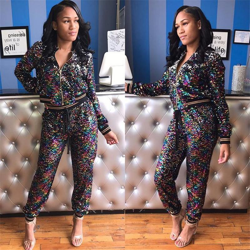 170b756d6d5e 2019 Women Sexy Mermaid Sequin Two Piece Clothes Set Gradient Glitter Crop  Jacket And Pants Tracksuit Long Sleeve Zipper Coat Top Outfit 2XL NEW From  ...