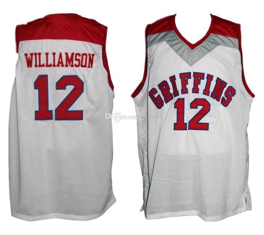 6f9b07cc9 Compre Spartanburg Griffins   12 Zion Williamson Branco Retro Clássico Basketball  Jersey Mens Costurado Número Personalizado E Nome Jerseys De Yufan5