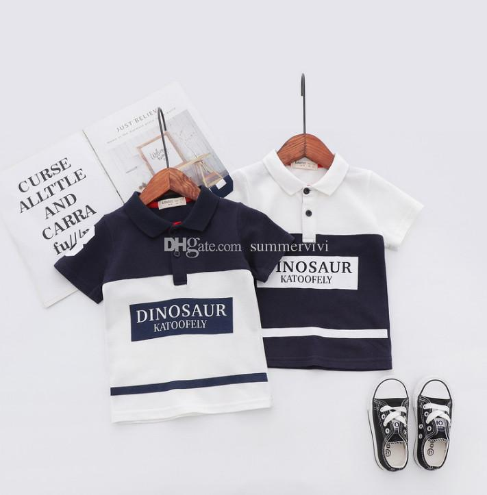 56a4943c8 2019 2019 Summer Boys Polo Kids Letter Printed T Shirt Fashion Boys  Patchwork Color Lapel Short Sleeve Tees Children Cotton Casual Tops F6536  From ...