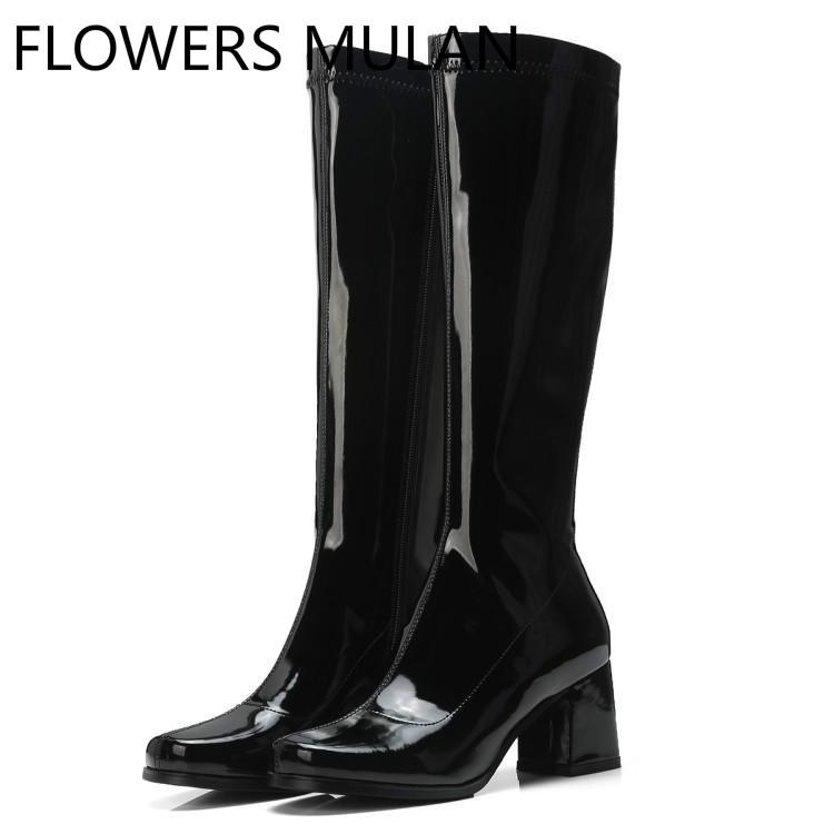7461613a713c Shiny Patent Leather Winter Boots Women Black Purple Blue Knee High Boots  Round Toe Chunky Heel Sewing Shoes Woman Side Zipper Cheap Shoes Womens  Shoes From ...