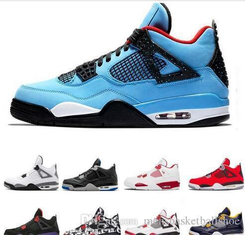 4 Top 4s Men Basketball Shoes New White Laser Black Cat Thunder Military Blue Shoes Sport Sneakers Size 7-13