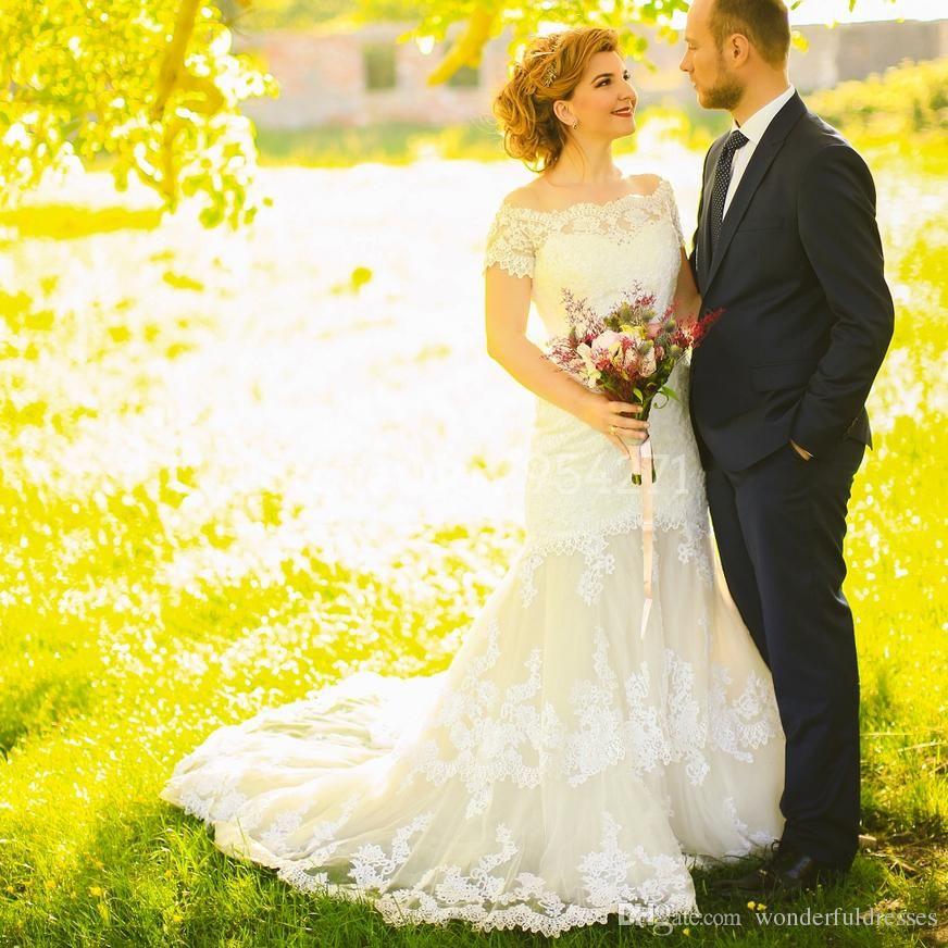 d5a2bf28c1c Modest Country Western Wedding Dresses Short Sleeve Lace Bridal Dress Boat  Neck Mermaid Wedding Gown Custom Made Robe De Mariage Bride Gown Bride  Wedding ...