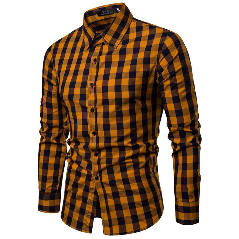 newest 734e5 31104 Casual Casual Herrenhemd Langarm Slim Fit Rot Gelb Königsblau Dunkelgrün  Kariertes Business Businesshemd