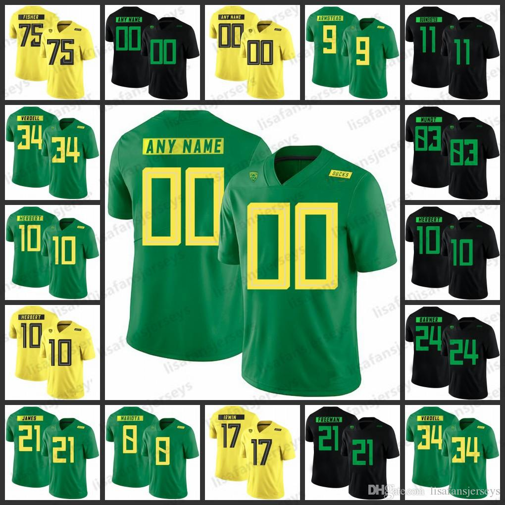 online store 67efc da22d Custom Oregon Ducks Jerseys 9 Byron Marshall 10 Herbert 8 Marcus Mariota 21  Royce Freeman Stitched College Football NCAA Jersey