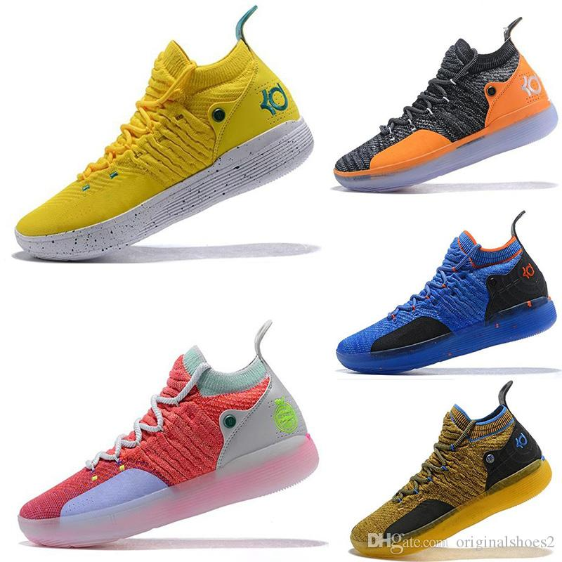 b0893b5f1f88f7 High Quality KD 11 Knit Mens Basketball Shoes EP White Orange Foam Pink  Paranoid Oreo ICE Kevin Durant 11 Mens Trainers Sneakers Size 7 12 Online  Shoes ...
