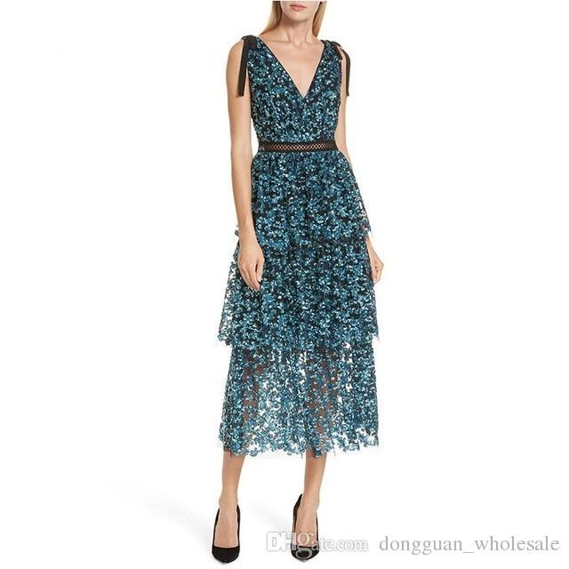 8010342ad7963 Acheter Paillettes Soirée Robe De Soirée Femmes Sans Manches Dos Nu Profond  Col En V Sexy Midi Robes Femme 2019 Printemps Mode Nouveau De $53.46 Du ...