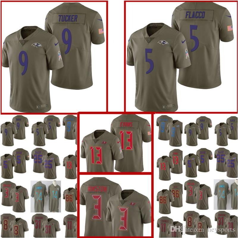 new products 55eab aeabc 2017 Salute to Service Baltimore Ravens Jersey Mens 5 Joe Flacco 9 Justin  Tucker Football Jerseys 3 Jameis Winston 13 Mike Evans Jersey