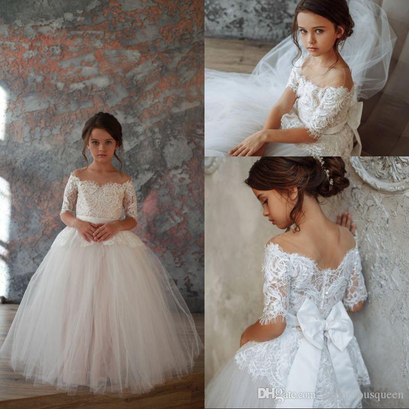 5cfb4b89f White Ivory Ball Gown Flower Girl Dresses for Weddings Tulle ...