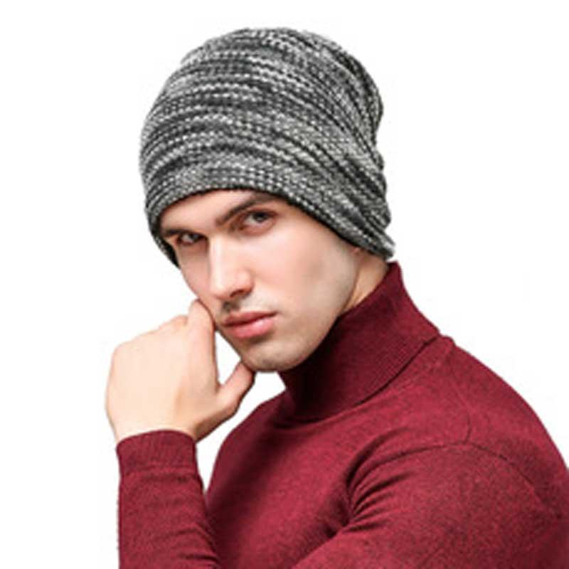 fa200a6f4a5d5 2019 2018 Casual Men S Hat Stripe Bonnet Winter Beanie Knitted Wool Hat  Plus Velvet Cap Thicker Stripe Skis Sports Beanies Hats From Qingfengxu