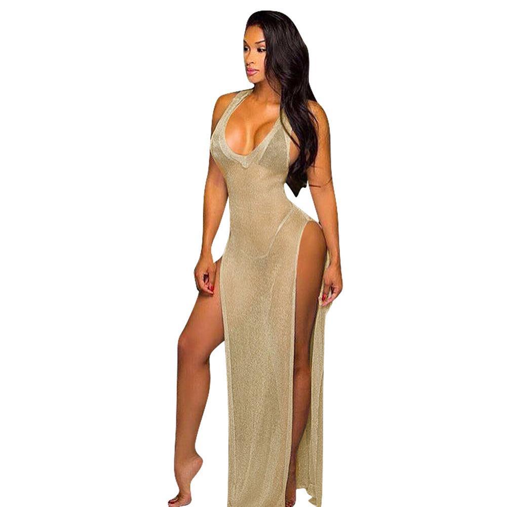 060ac2d38e Sexy Women Sheer Long Maxi Dress Thigh High Split Backless Sleeveless  Summer Beach Dress Clubwear Party See Through Cami Dress Dressing Women  Dresses At ...