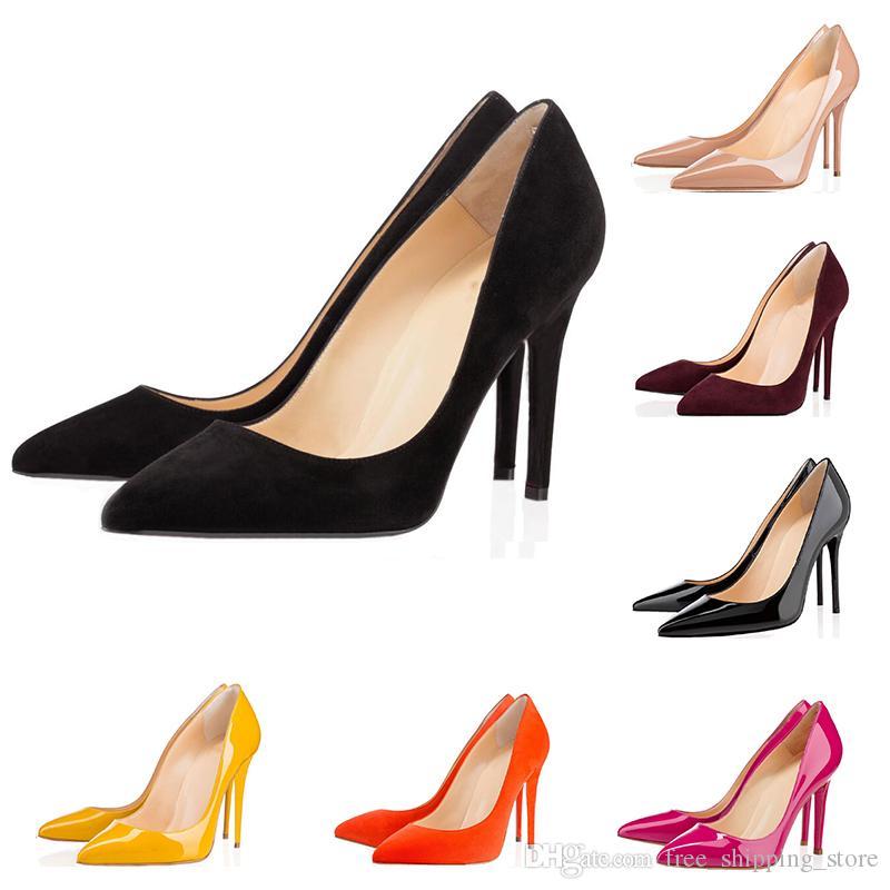 8f84694e7b Compre Moda Designer De Luxo Mulheres Sapatos De Fundo Vermelho De Salto  Alto Tão Kate 8 Cm 10 Cm 12 Cm Nude Preto Vermelho Couro Apontou Toes  Bombas ...