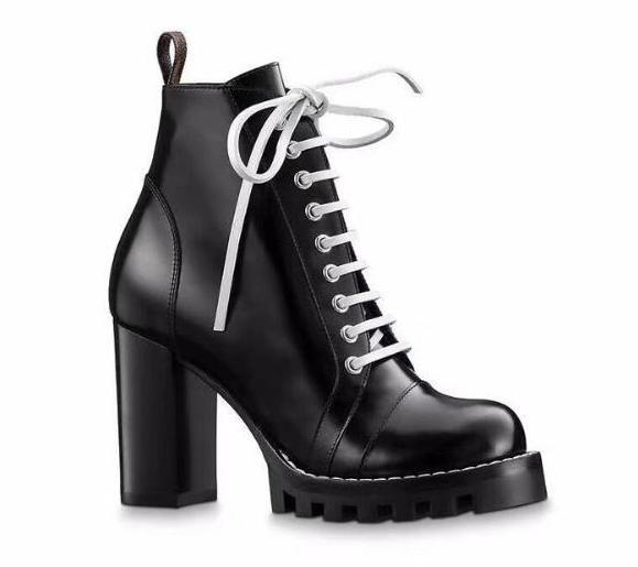 cb2a1268027b Fashion Casual Shoes Star Woman Boots New Genuine Leather Round Toe Luxury  Women Boots Gladiator Lace Up Thick Heel Ankle Boots Shoes Ladies Shoes  Loafers ...