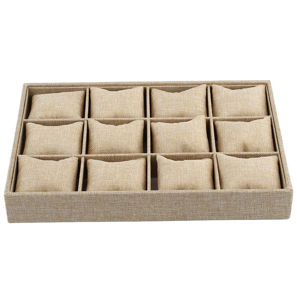 12 Grids Watch Display Case Bracelet Necklace Jewelry Holder Container Box With Pillow Style Thick Hemp Cajas Para Relojes