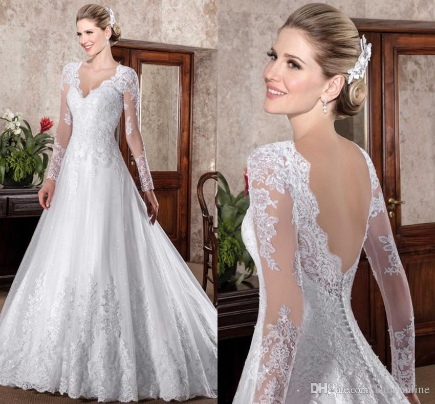 compre vestidos de novia manga larga vintage una línea vestidos de