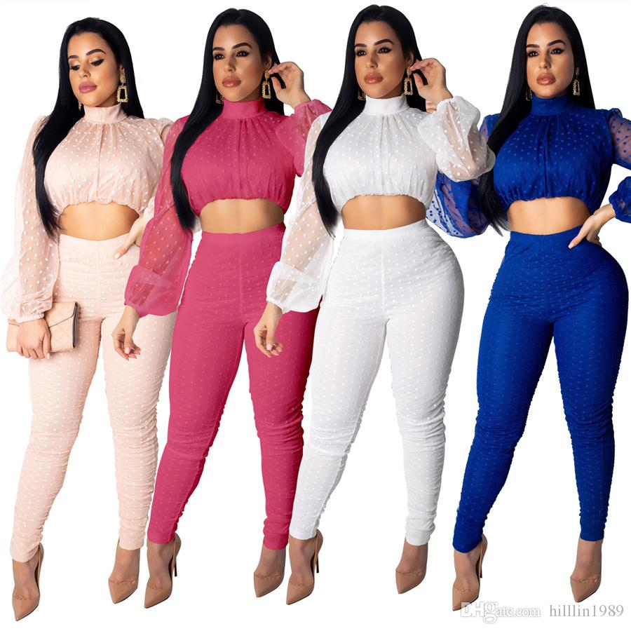 64982a5e7a56bb 2019 Women'S Two Piece Pants With Tops 30% Off High Neck Clubwear Autumn  Chiffon Streetwear Ladies Tracksuits Long Sleeve Spring Break Clothes From  ...