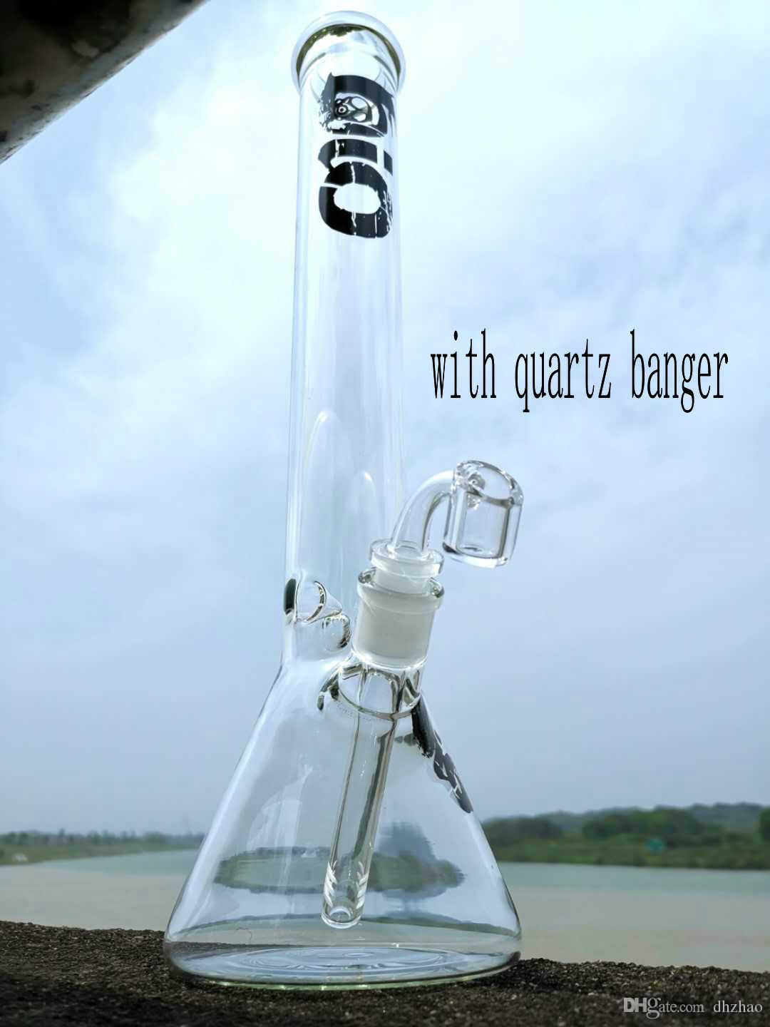 "Dhzhao beaker base water pipes hot selling glass bong ice catcher with quartz banger or bowl thick glass for smoking 17"" bongs"