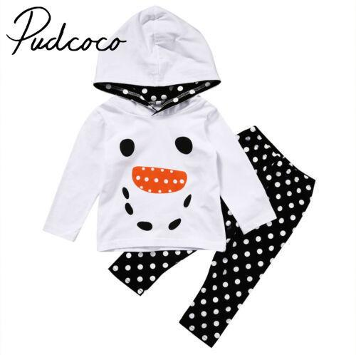 Pudcoco Christmas Toddler Kid Baby Girl Snowman Tops Hoodie + Dot Pants Outfit Set Clothes