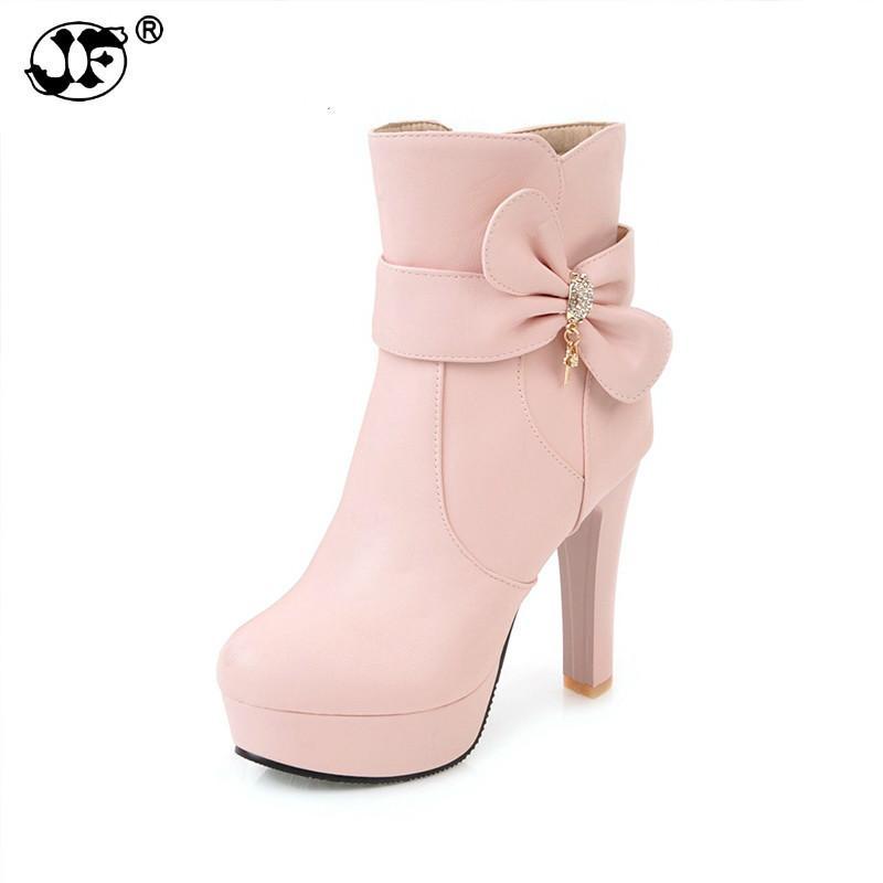 c95986321e Compre Tamanho Grande 32 45 Plataforma Doce Arco Mulheres Sapatos Da Moda  Sapatos De Salto Alto Rosa Preto Branco Tornozelo Botas De Inverno Calçado  Lady753 ...