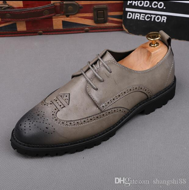 c4e367ebf 2019Luxury Designer Leather Brogue Mens Flats Shoes Casual British Style Men  Oxfords Fashion Brand Dress Shoes For Men Big Size 38 43 D22 Footwear Sport  ...