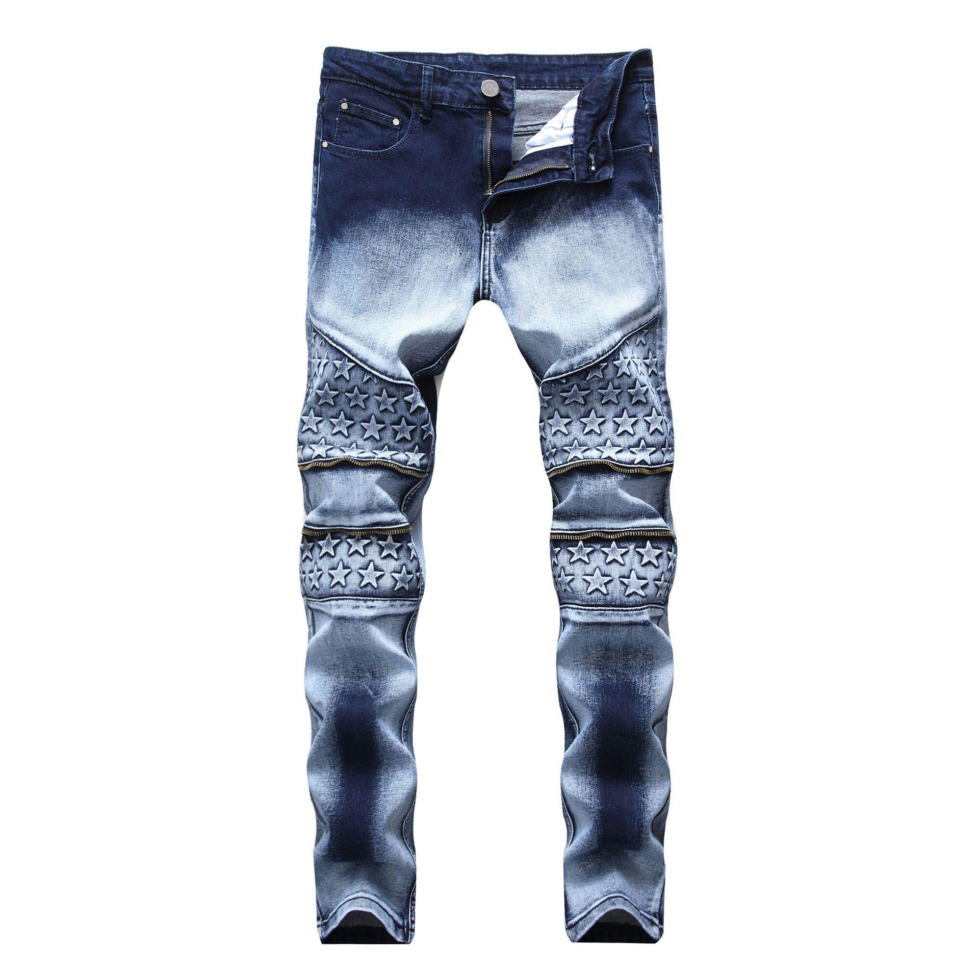 37130bbb 2019 Pantalones para hombre Casual Denim Blue Jeans Primavera otoño  pantalones rectos slim fit con cremallera estrellas al por mayor