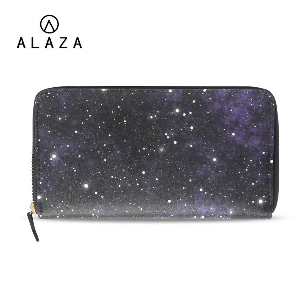 105906bf6 ALAZA NEW Starry Sky Universe Galaxy Printing Long Wallet PU Leather Clutch  Wallet Coin Phone Purses Cards Holder For Women 2018 Handmade Wallets Purse  ...