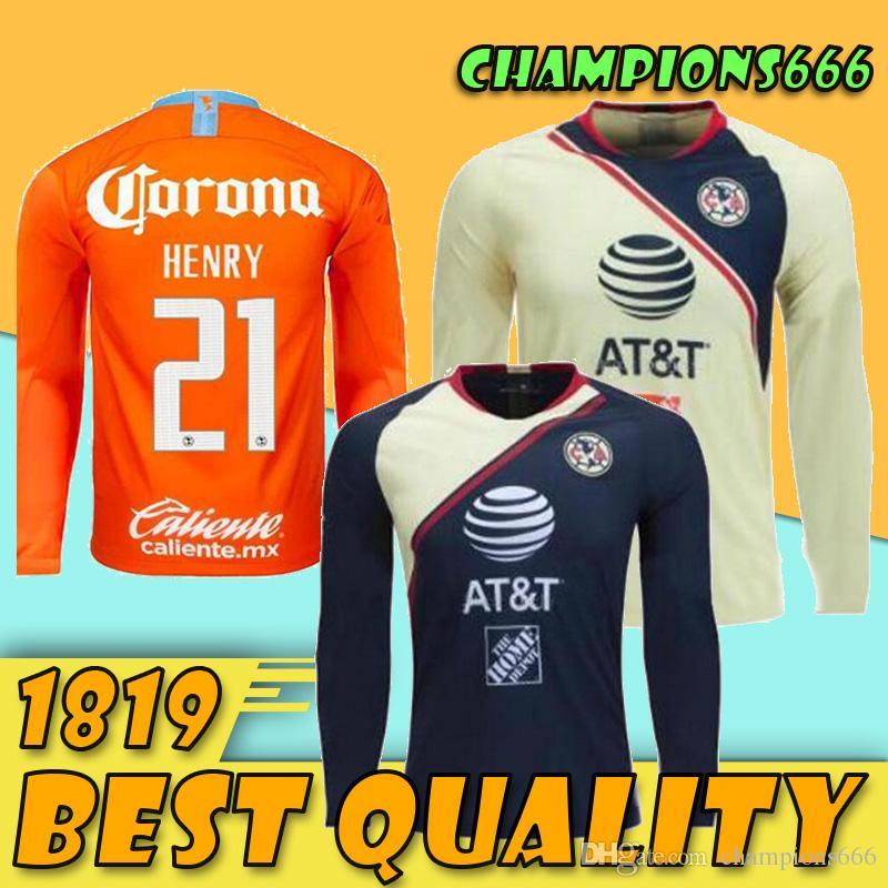 095ac62ff 2019 America LONG Mexico 2018 2019 LIGA MX Club Long Soccer Jersey  C.DOMINGUEZ R.JIMENEZ R.SAMBUEZA P.AGUILAR Home Away Goalkeeper Football  Shirt From ...