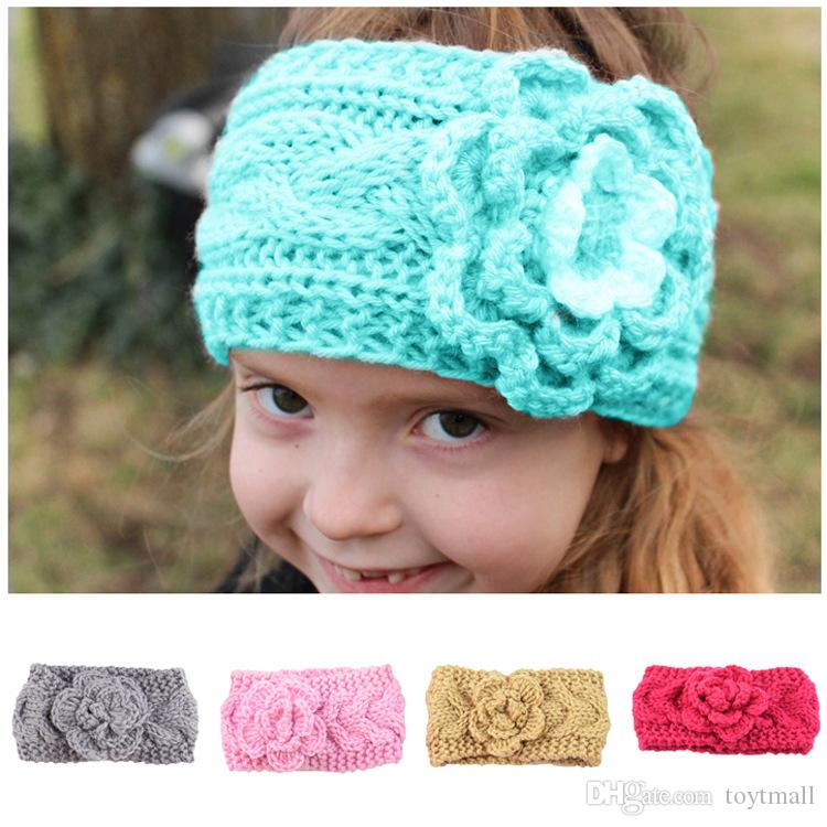 2019 New Girls Kids Winter Big Wool Crochet Headbands Flowers For