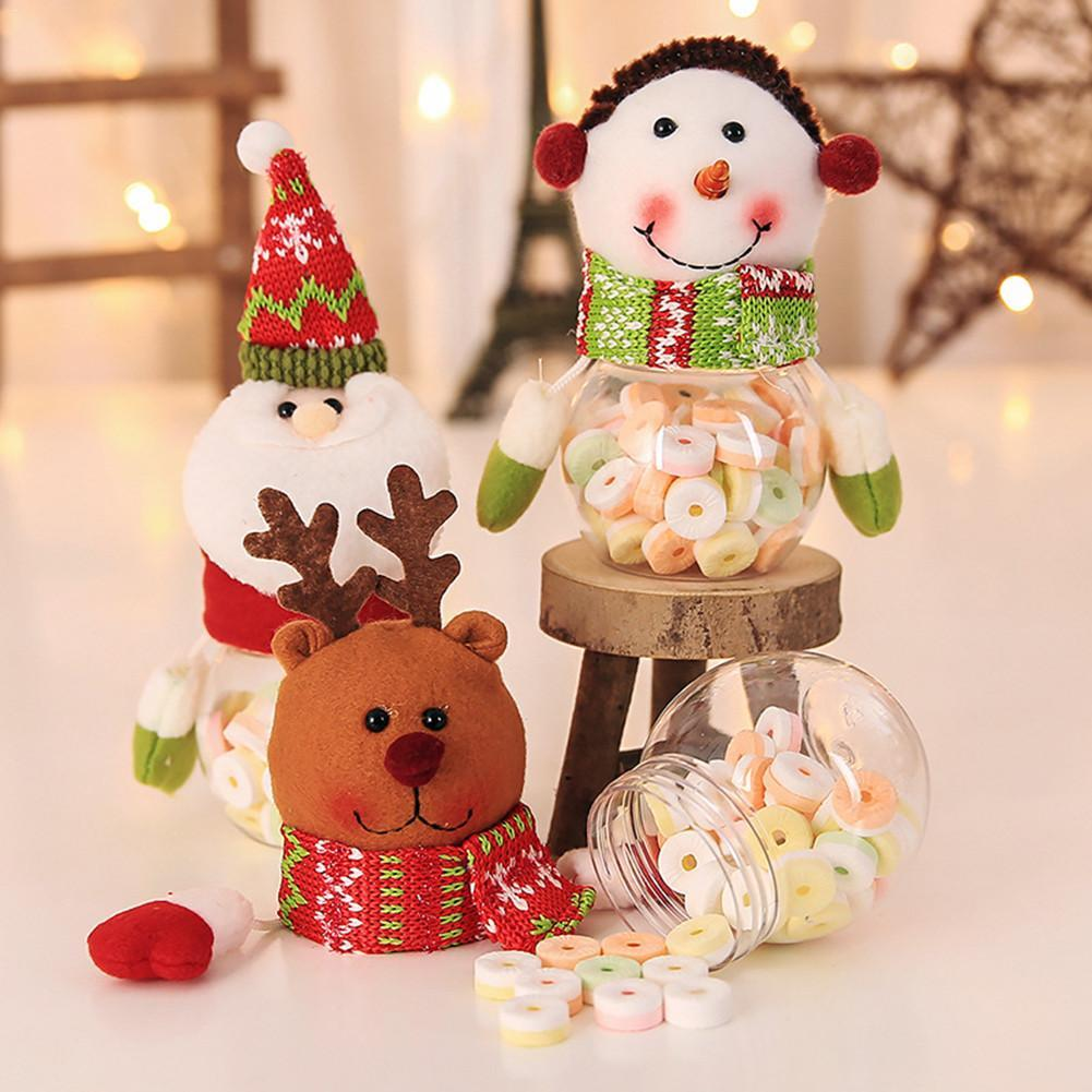 Christmas Candy Decorations.1pc Cute Christmas Candy Jar Xmas Decoration Bubble Candy Storage Box Transparent Plastic Can Bottle Holder Box