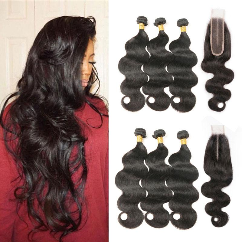 Brazilian Body Wave Bundles with Closure 3 Bundles with Closure Remy Human Hair Weave Bundles Extensiosn With 2x6 Lace Closure