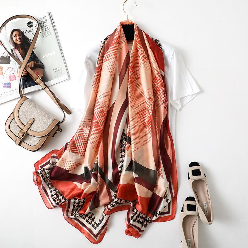 378ab99b474 Acheter 90   180 Cm Mode Foulard Femmes Date Plaid Conception Foulards En  Soie Femme De Haute Qualité Châle Et Wrap De  34.22 Du Cukojew