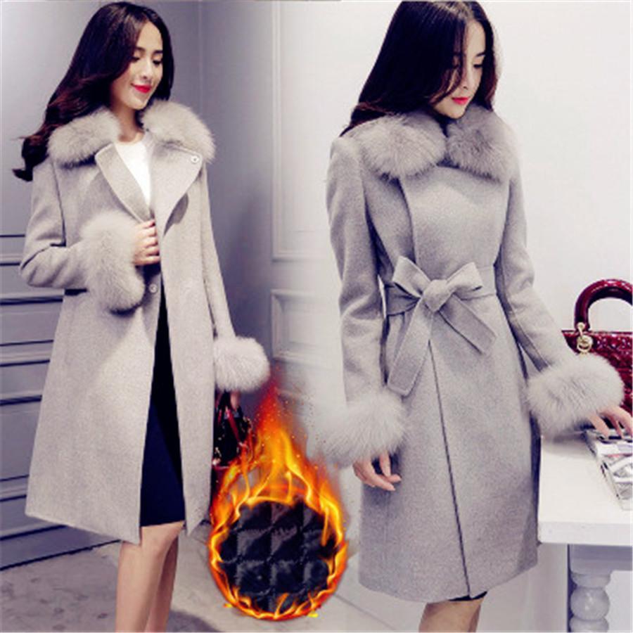 bada40d14f2 2019 2019 Spring New Slim Thick Warm Big Size Large Size Fur Collar Wool  Coat Jacket Waist Thin Woolen Coat Female XS 2XL From Layercuff