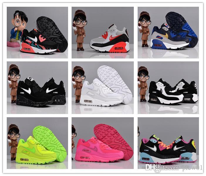 san francisco 5940d a3318 Nike Air Max 90 youth Running Shoes kid Sneakers max 90 run Sports shoe  classic 90s Trainer Air Cushion Surface size 26-35