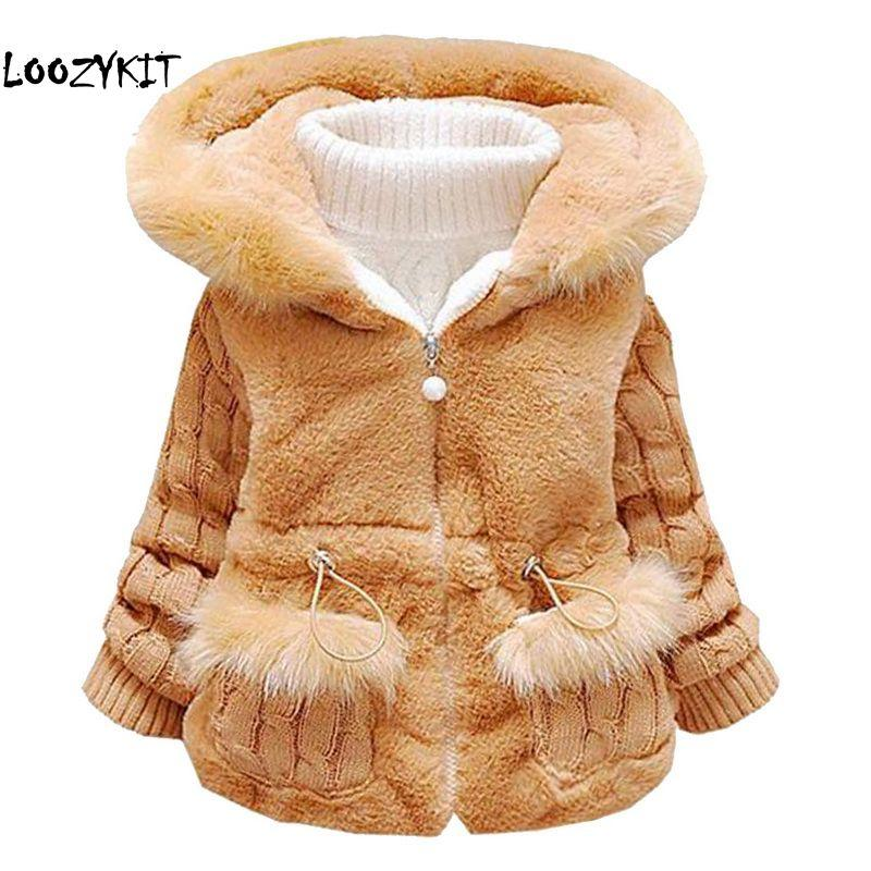 41aa2bdfe652 Loozykit Winter Baby Girls Clothes Faux Fur Fleece Coat Pageant Warm ...